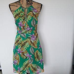 NWT ELSEY GREEN ISLANDER TROPICAL HALTER DRESS
